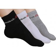 Reebok Men/Women Unisex Dry Fit Towel Ankle Socks Pack of 3 Assorted Colors 3