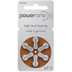 PowerOne Hearing Aid Battery P312 (6 PCS Battery)